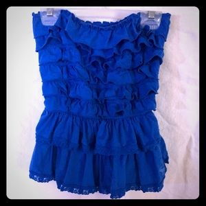 A&F ruffled tube top. Bright blue.